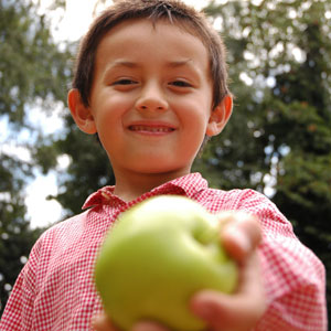 Photo of young boy holding an apple.