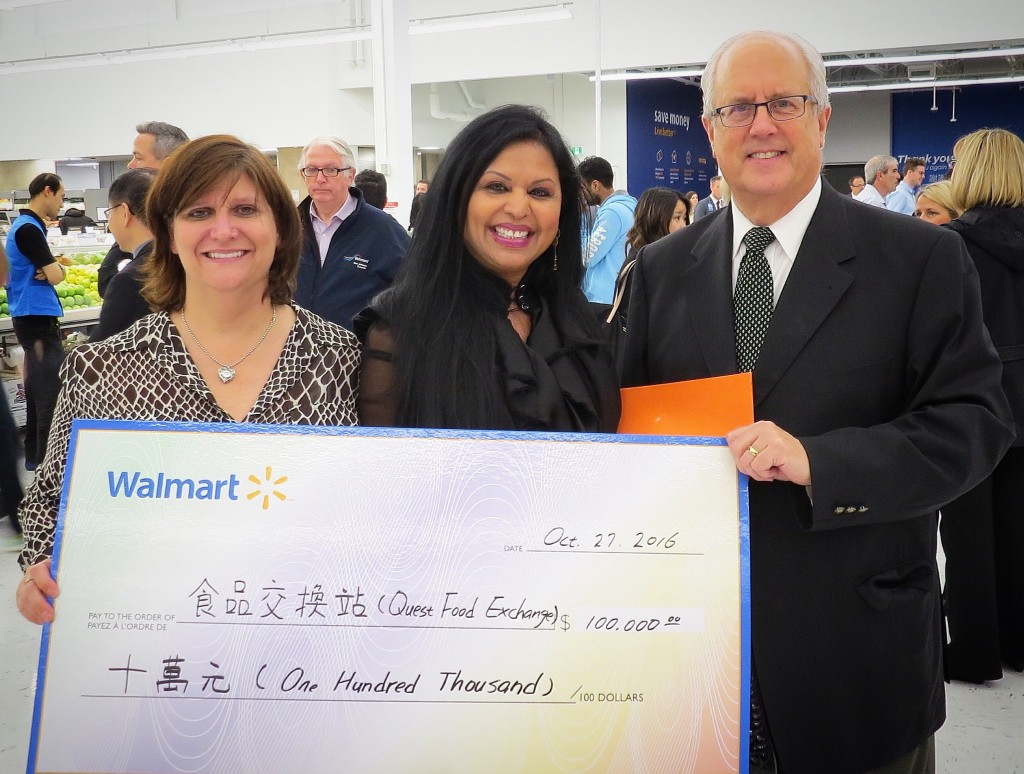 (L-R): Christine Bome, Senior Director, Public Affairs for Walmart Canada; Elizabeth Lewis-Crudgington, Executive Director, Quest Food Exchange; Malcolm Brodie, Mayor of Richmond.